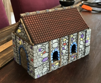 Medieval Cottage  , printed and painted by  Dylan Dove