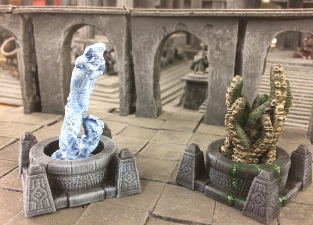 Water Serpent     and     Tentacles  , printed and painted by  Andrew Teheran