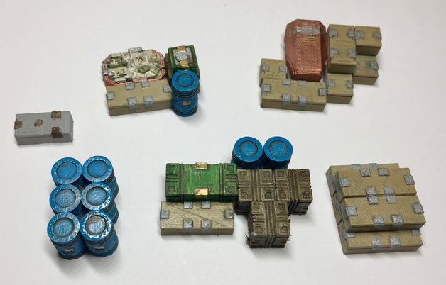 Sci-Fi Loot Markers  , printed and painted by  Martin Rothaemel
