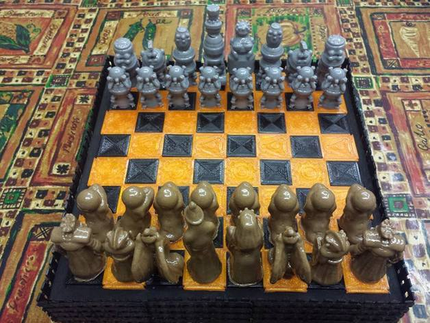 Robots versus Wizards chess set  , printed by  Seth Lilleker