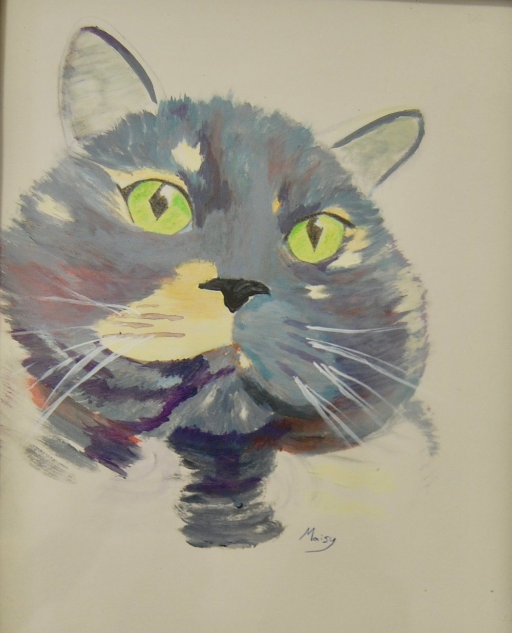To help her find her family, Maisy has been featured in our art show located at Cat Town. The piece has been donated by the artist and her lucky adopter will take home the piece to commemorate the occasion.