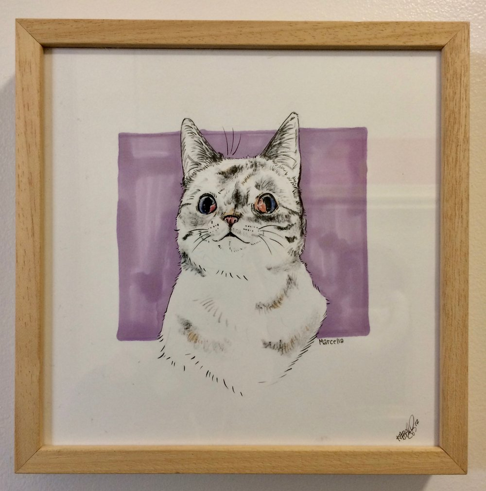 To help her find her family, Marcella has been featured in our art show located at Cat Town. The piece has been donated by the artist and her lucky adopter will take home the original work to commemorate the occasion.