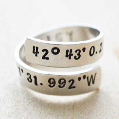 Custom Coordinates Ring - Her Silver Lining