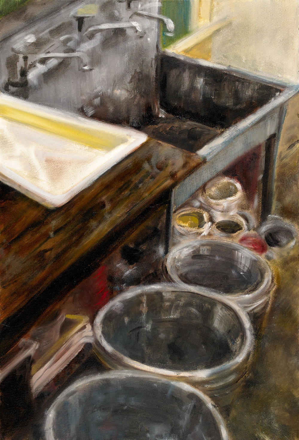 "SCHOOL HUB  oil on paper 22"" x 15"" 2015"