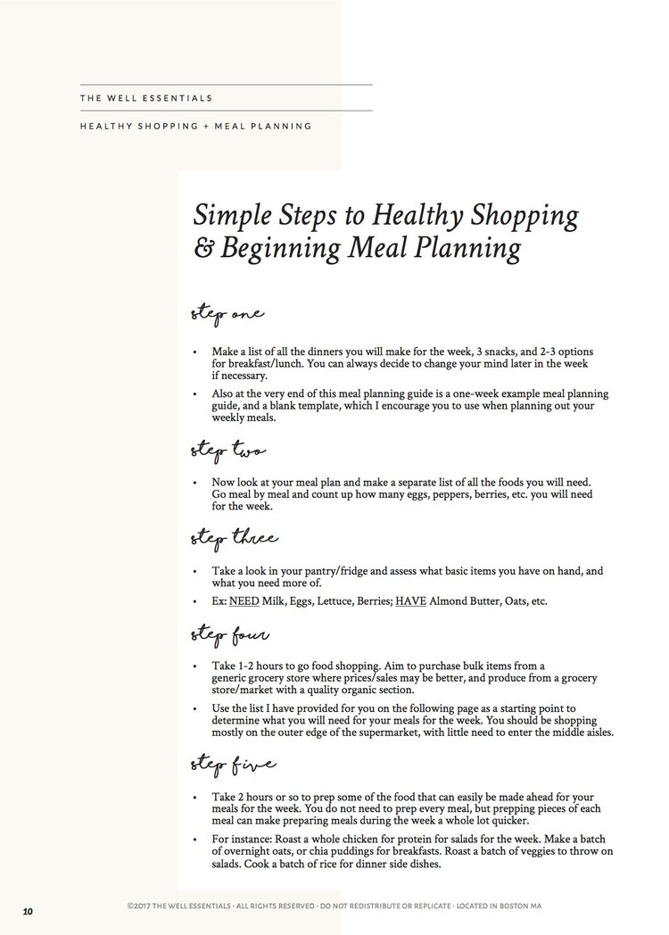 Meal Planning Guide To Healthy Balanced Meals