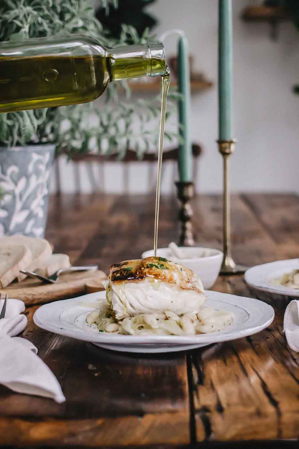 Fish and Beans Recipe - Pan Seared Halibut Recipe With Garlic Cannellini Beans And Fennel