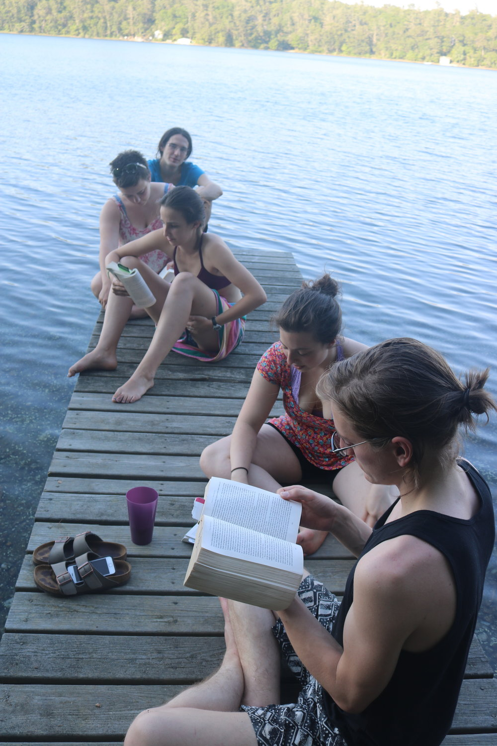 Reading on the dock on our day off