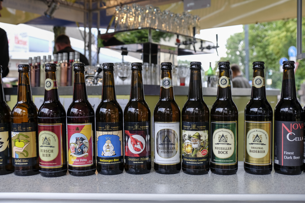 A line up from micro-producers at the Bier Boerse (beer market) in Dusseldorf.