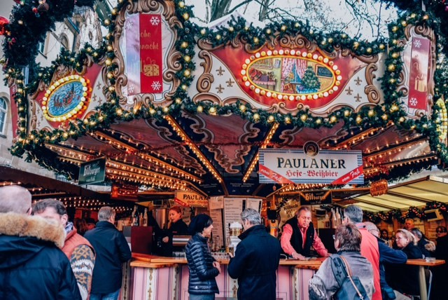 An outside beer stall at Bonn's Weihnachts Markt (Christmas Market), one of the more ornate one in Western Germany.