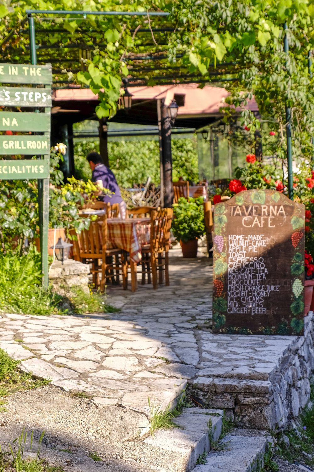 a taverna in the Corfu mountain town of old perithia palea perithia