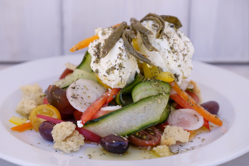 a colorful modern take on greek salad at nagual beach bar