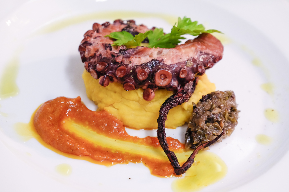 octopus sous vide at nagual beach bar made by chef christos ioannidis