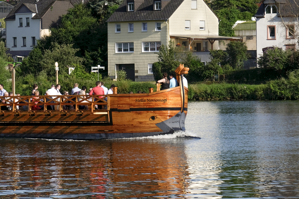 roman style ship in modern day Moselle wine valley, Germany