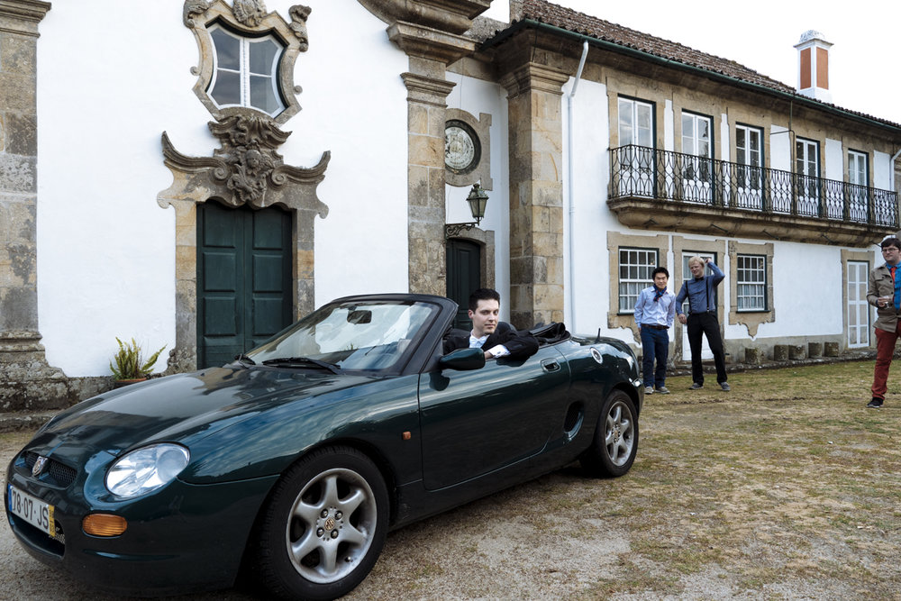 Mateusz of TravlrBlog takes a spin an MG before a private dinner party at Outeiro Tuias Manor House, Marco de Canaveses - Douro Valley