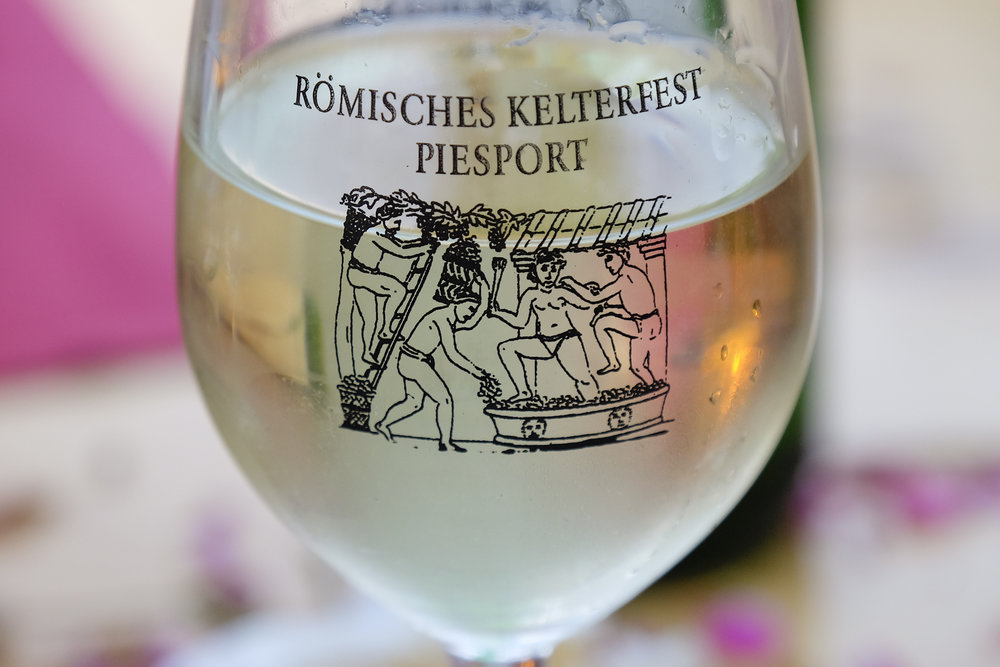 white mosel wine from the roman cellar festival in piesport