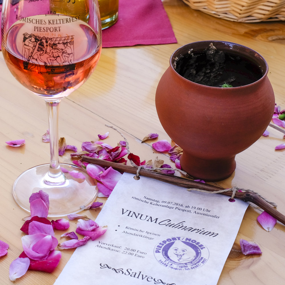 rose wine served up at the roman cellar festival in piesport germany