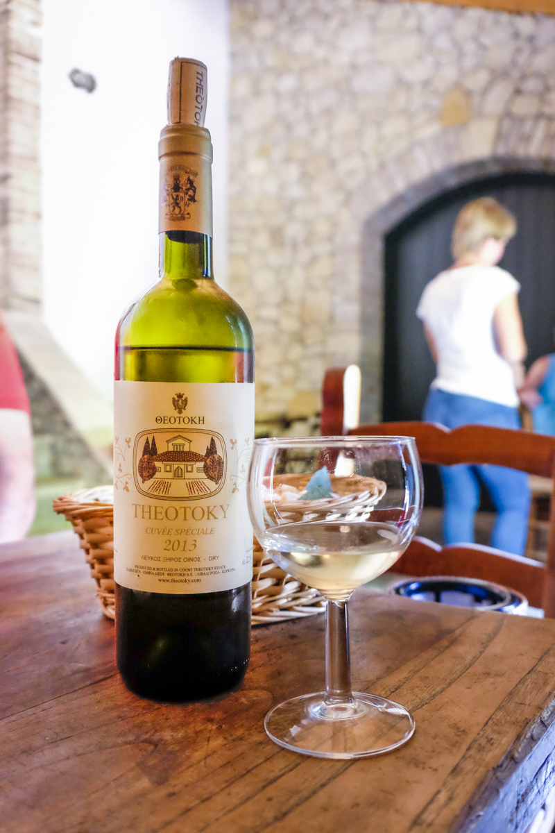 organic white wine from greek winery theotoky