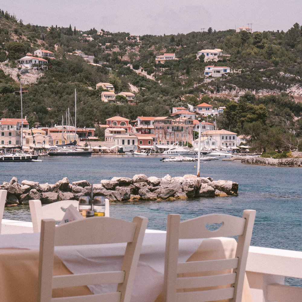 patio at genesis taverna in paxos, greece