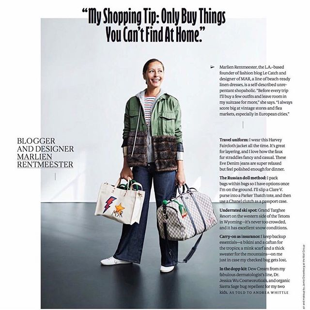 After @manrepeller nominating the Olympia Overall as a travel ensemble must-have, now the Charlotte makes the cut thanks to @cntraveler mag via @marlienrentmeester! #packyourbags #bonvoyage #evedeniminprint