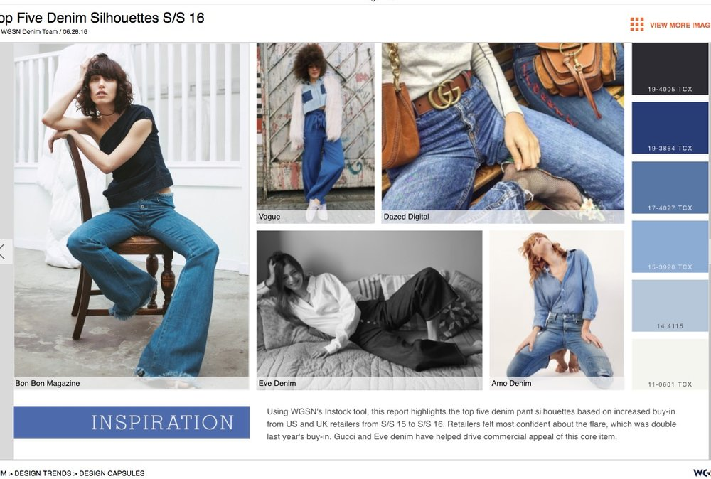 WGSN TOP SILHOUETTES S/S16 featuring  Charlotte Culotte Raw Denim