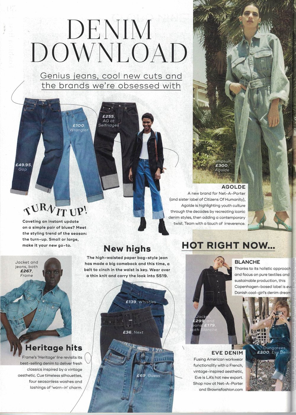Olympia Overall in Malibu wash featured in  Marie Claire January 2019