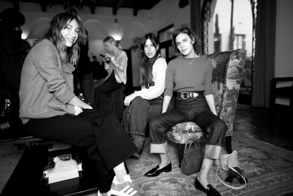 Gia Coppola in  Charlotte Culotte Noir Stretch , Tallulah Willis in  Olympia Overall Malibu Wash , Scout Willis in  Juliette Jean Chelsea Wash  at Eve Denim x Gia Coppola Event