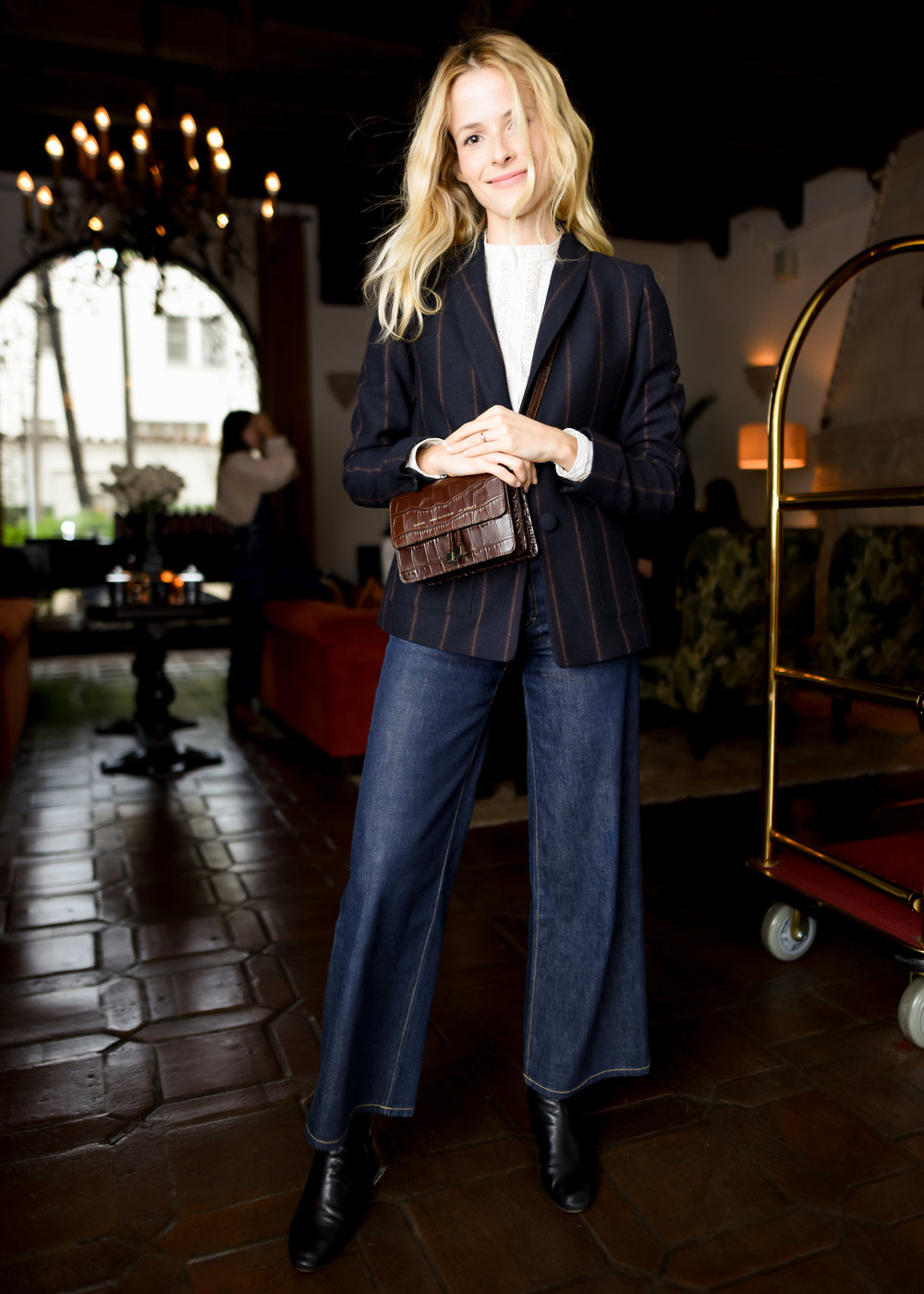 Alex Noiret in the  Charlotte Culotte Raw Denim  at Eve Denim x Gia Coppola Event