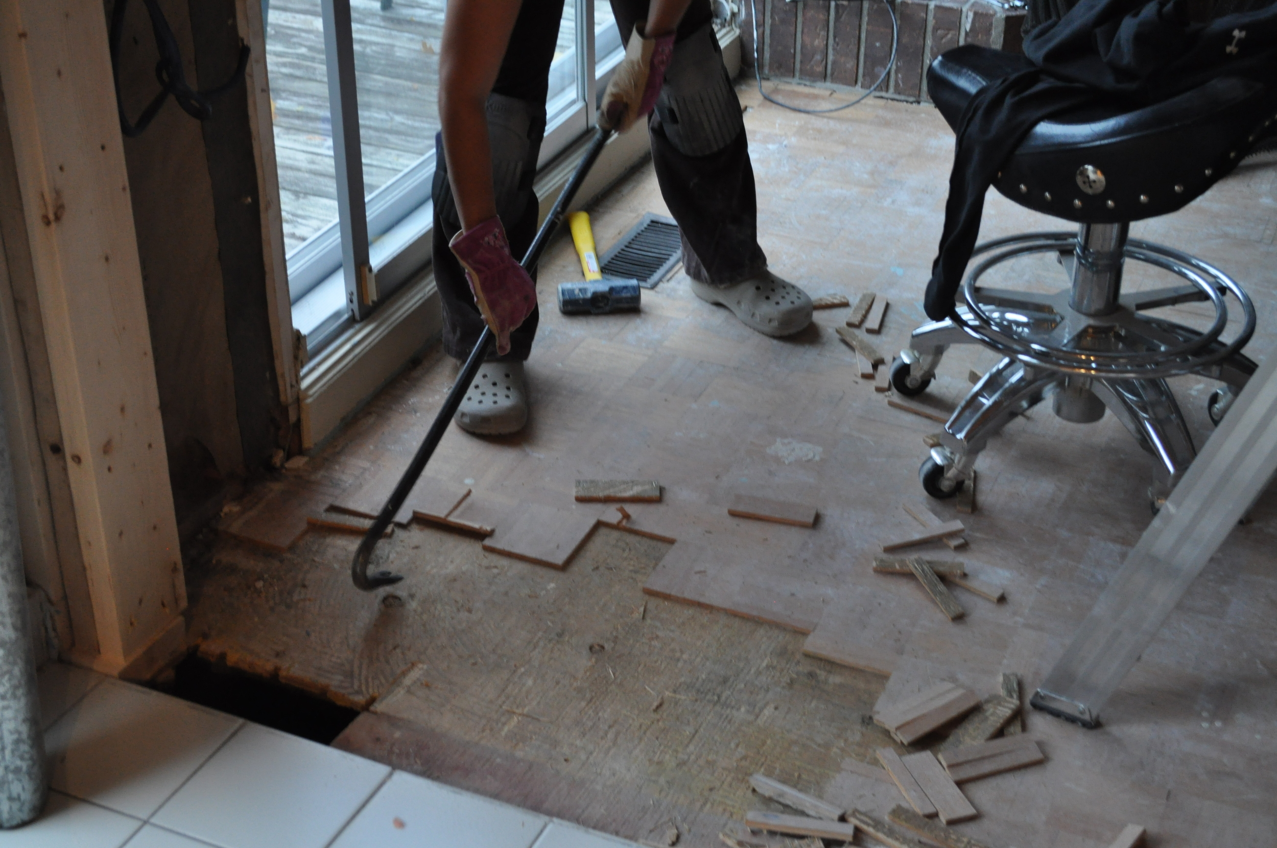 Say goodbye, parquetry (Family Room)
