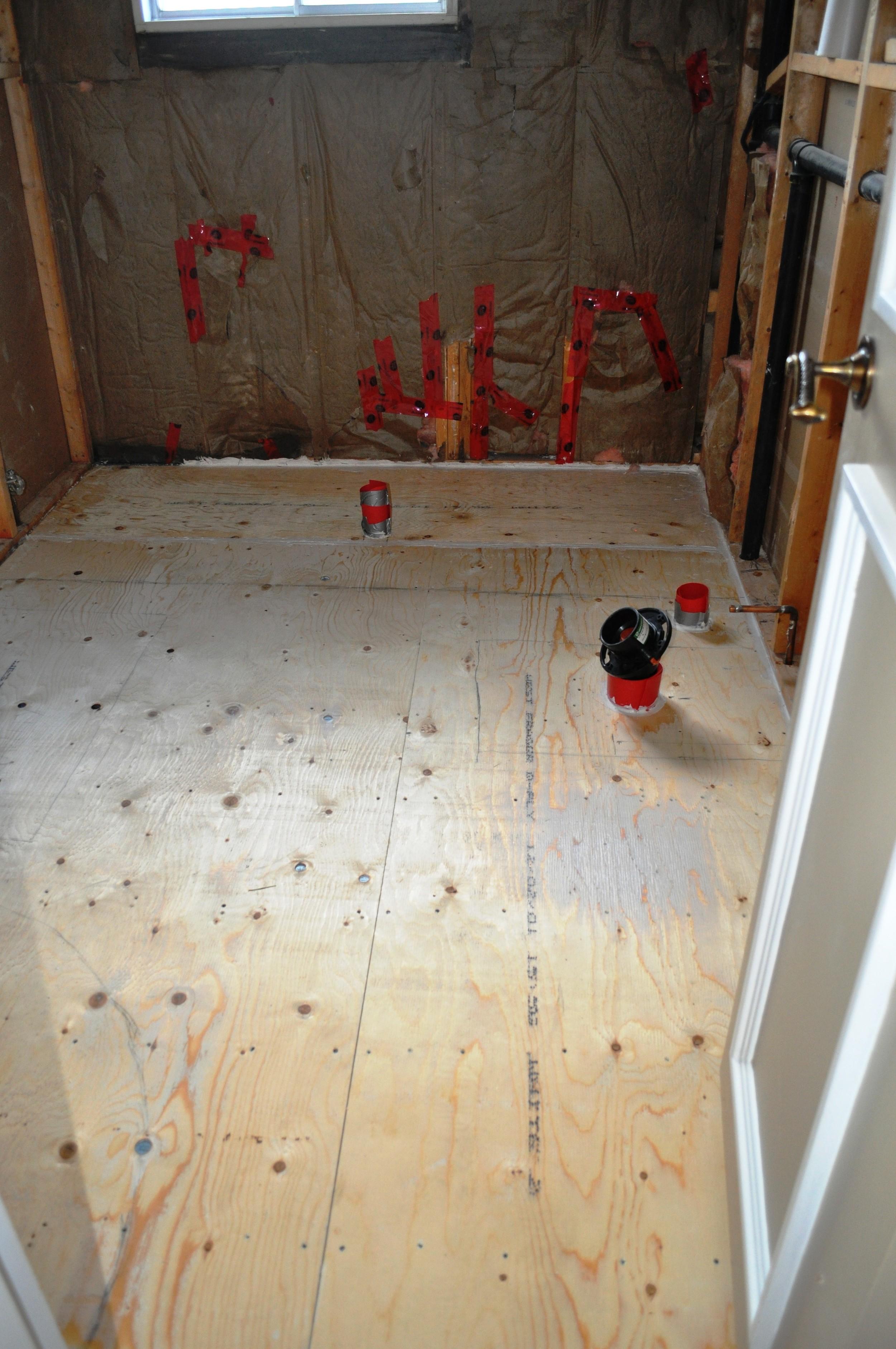 Guest Bathroom, plywood installed