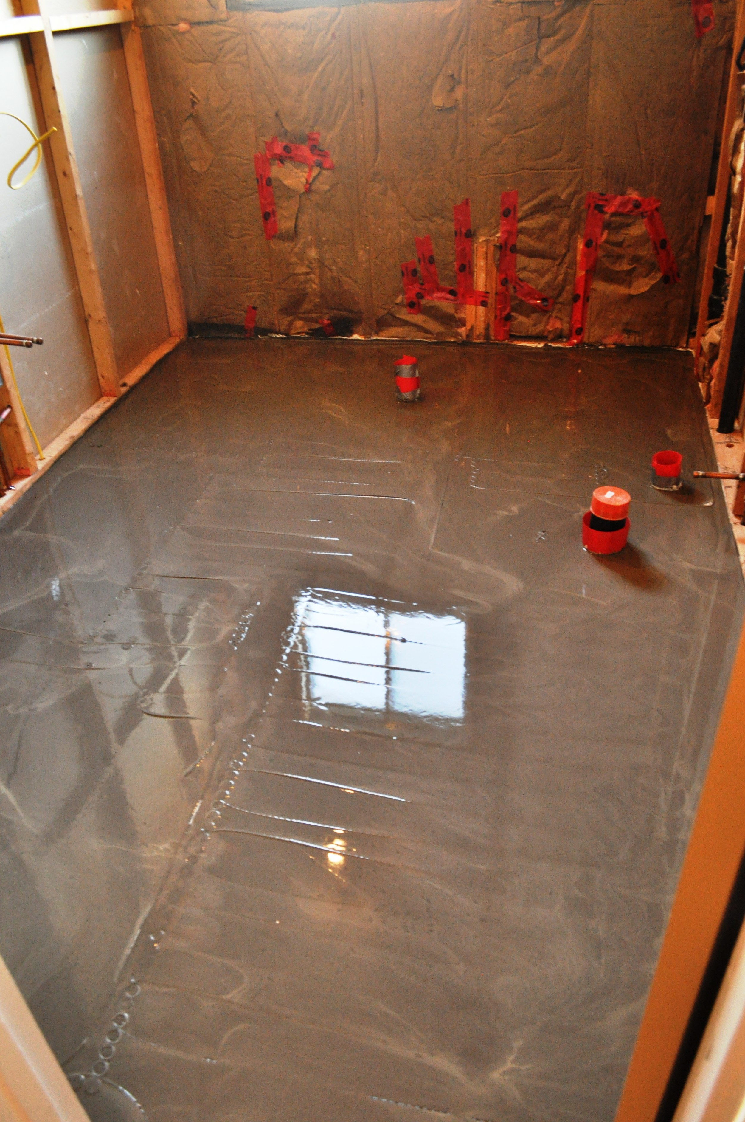 Bathroom Floor, self leveling cement poured