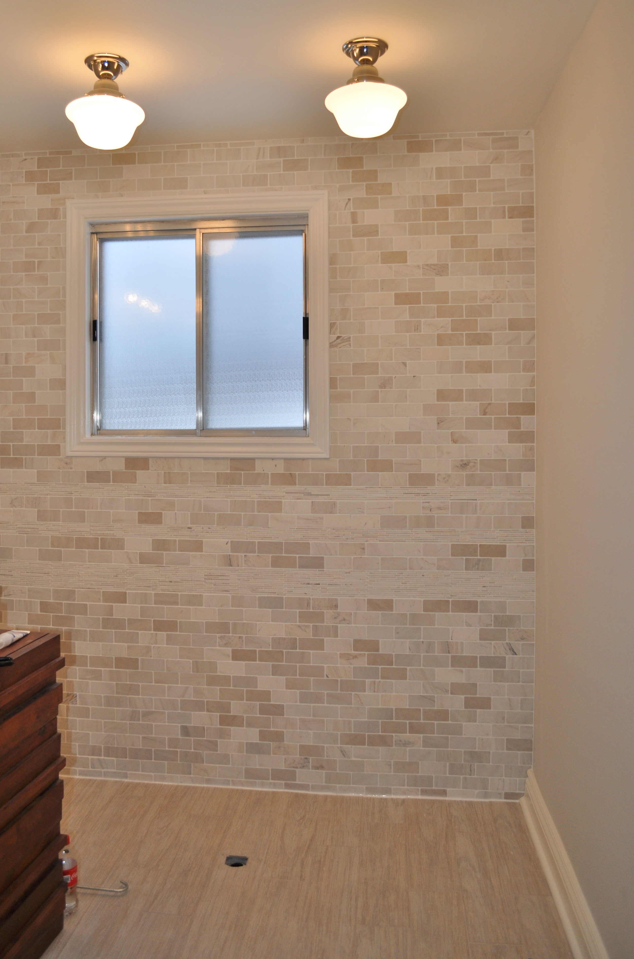 Bathroom Back Wall, Grouted