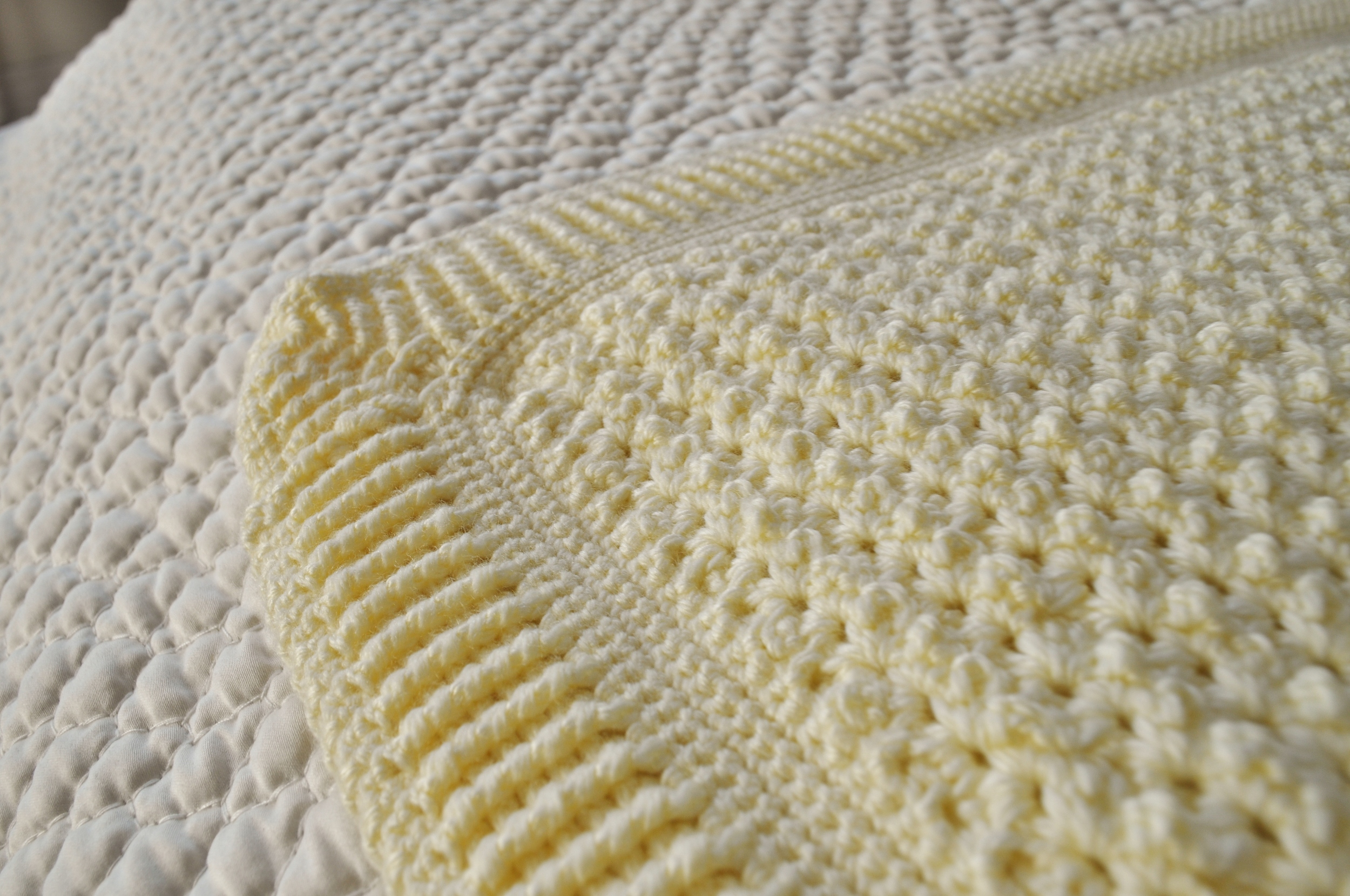 Crocheted Blanket Close up, corner