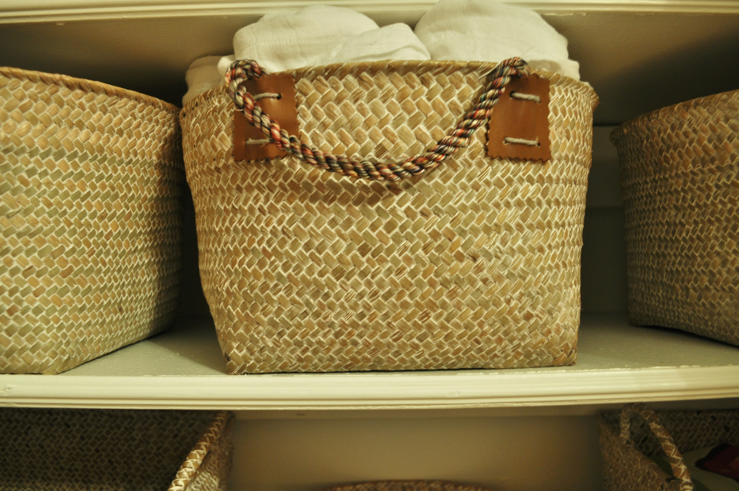 Straw Basket for Blankets
