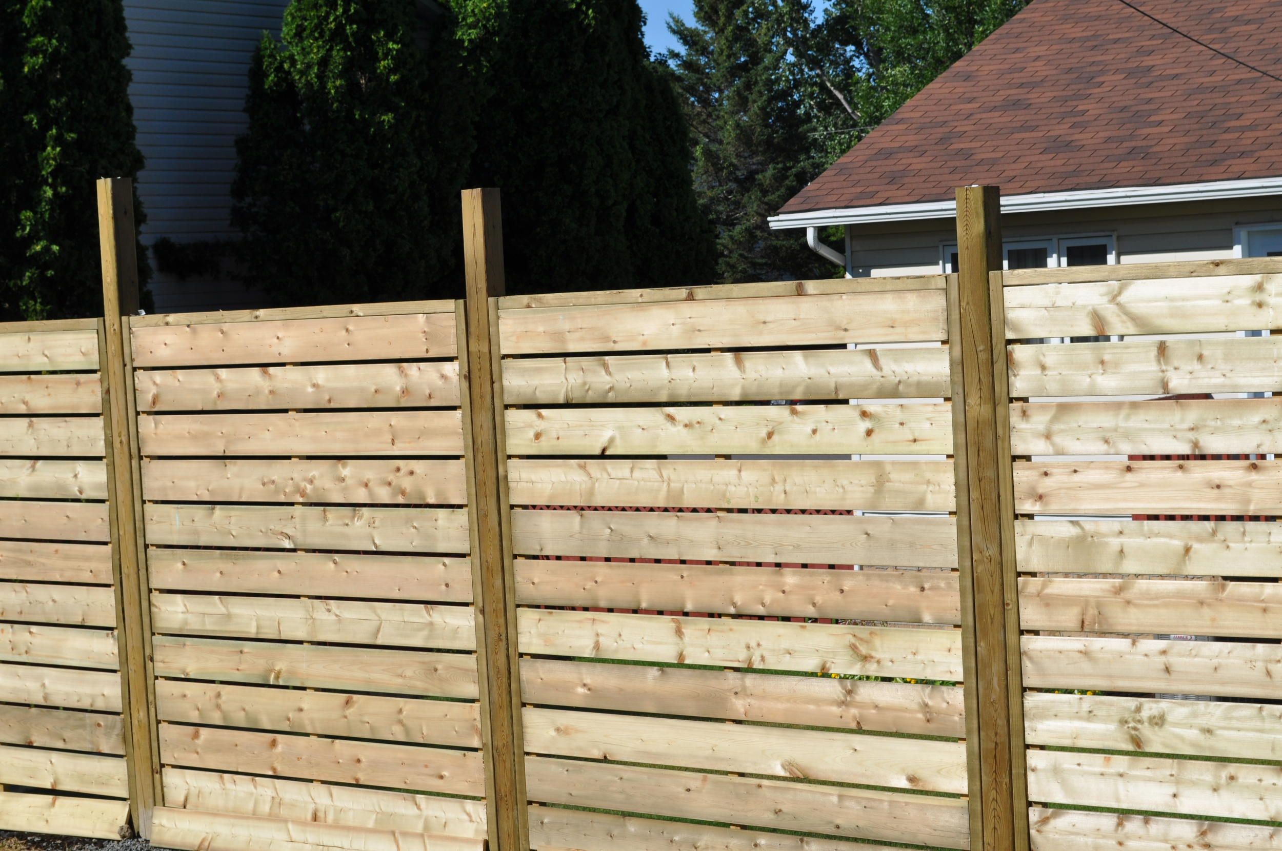 Closeup view of fence panels
