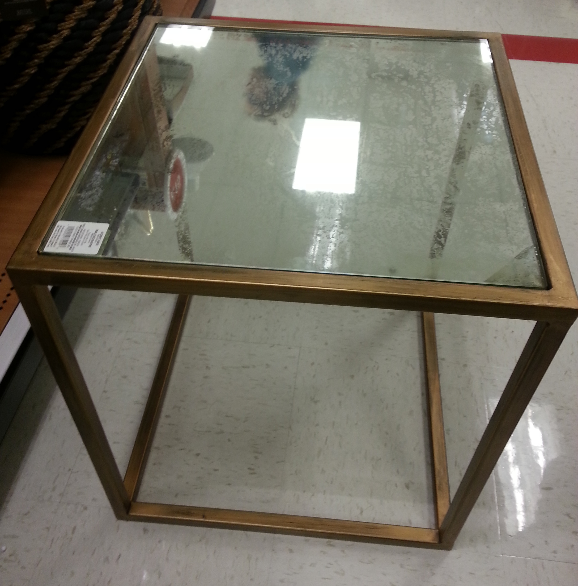 brass antiqued glass side table TARGET