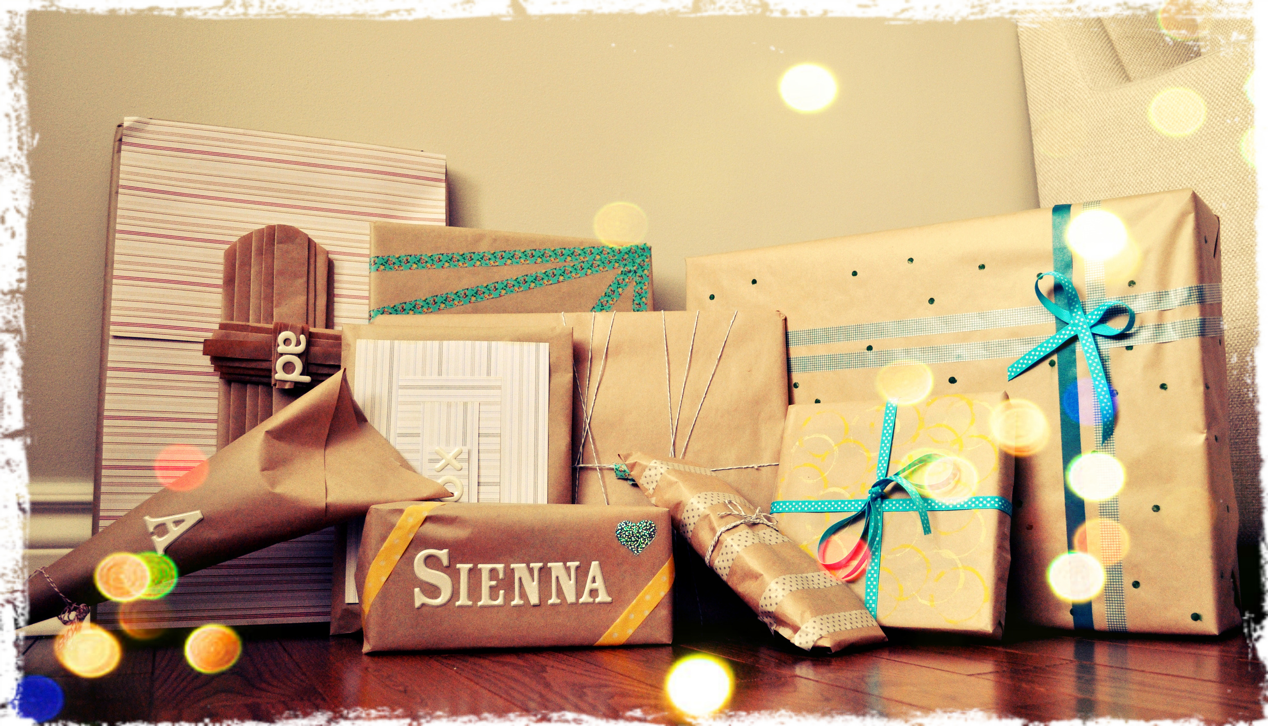 Wrapped Gifts using kraft paper