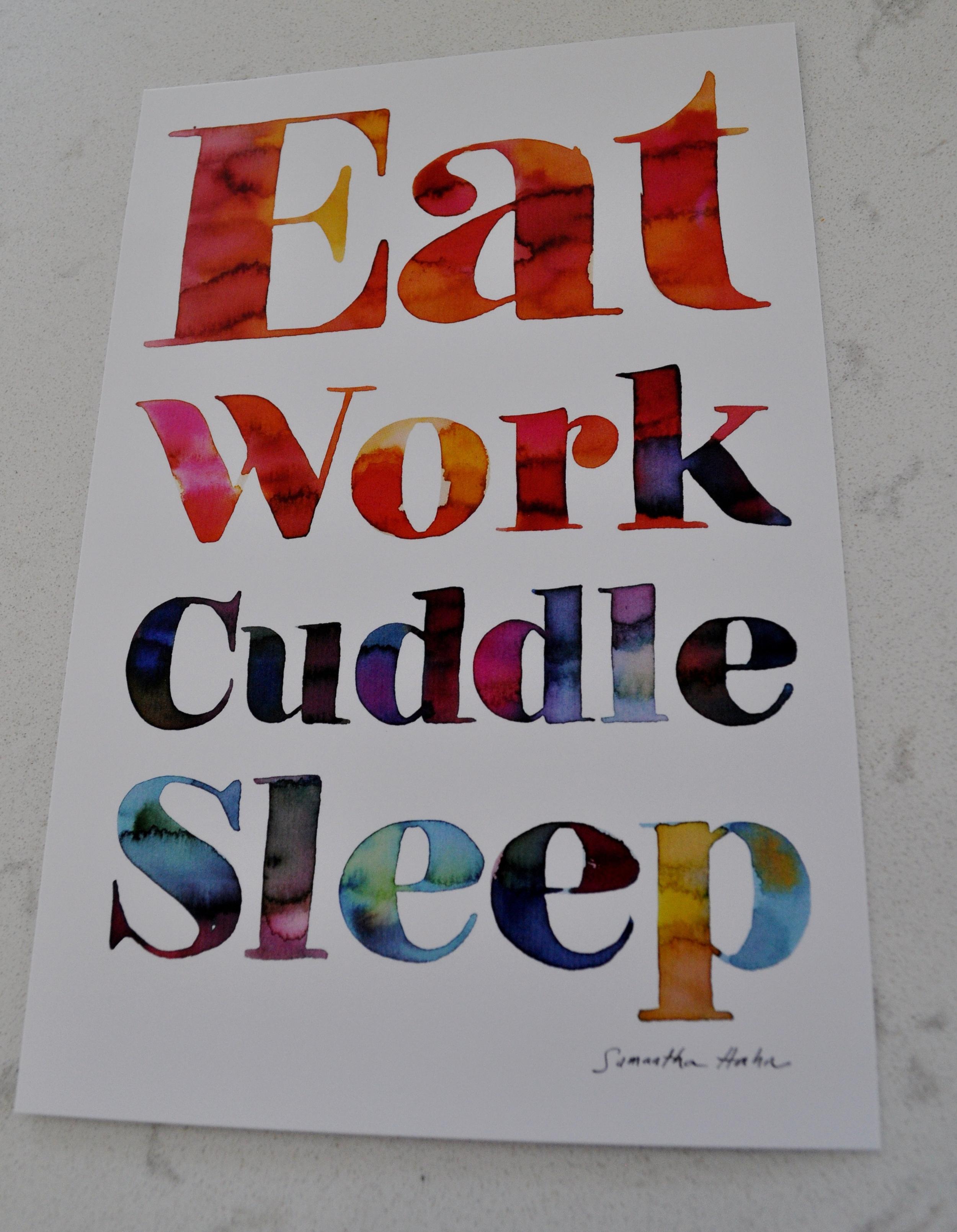 Eat Work Cuddle Sleep Print