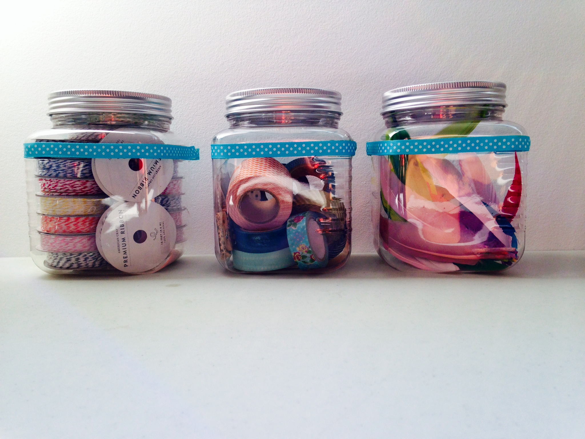Plastic Jars with supplies