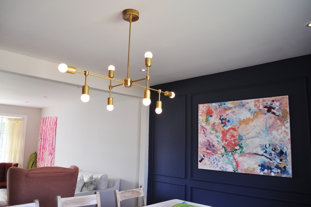 DIY Brass Chandelier Round Bulbs
