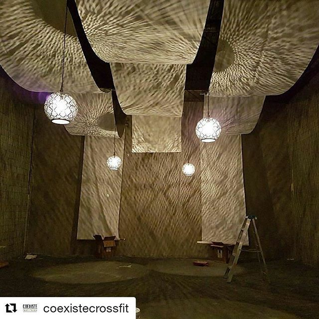 special project in the works! #Repost @coexistecrossfit with @repostapp ・・・ Although this yoga room is not quite done it has taken our breath away.  Two days ago it was barren and cold yet after a little love and creative ingenuity we are in awe. We cannot wait to share this experience with you.  #famfitlove #memberlove #thebergs #melkaydesign #scaffolding #velvettoolbox