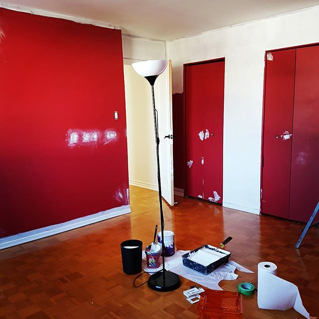 "Operation ""red-be-gone"" in effect. #velvettoolbox #office #makeover #renovation"