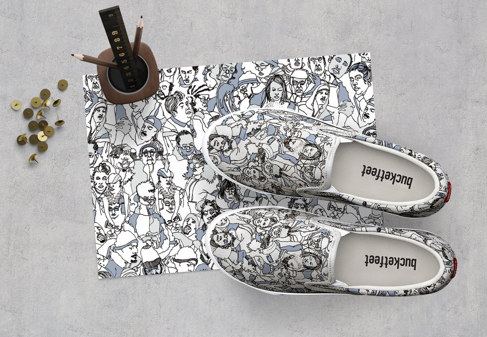 Bucketfeet Gallery Shop (2017) Preorders of my Neutral Peeps shoe were made available from  February 21, 2017 - March 13, 2017. The original color way for this shoe design will be released April 2017. Click on the above image for more details.