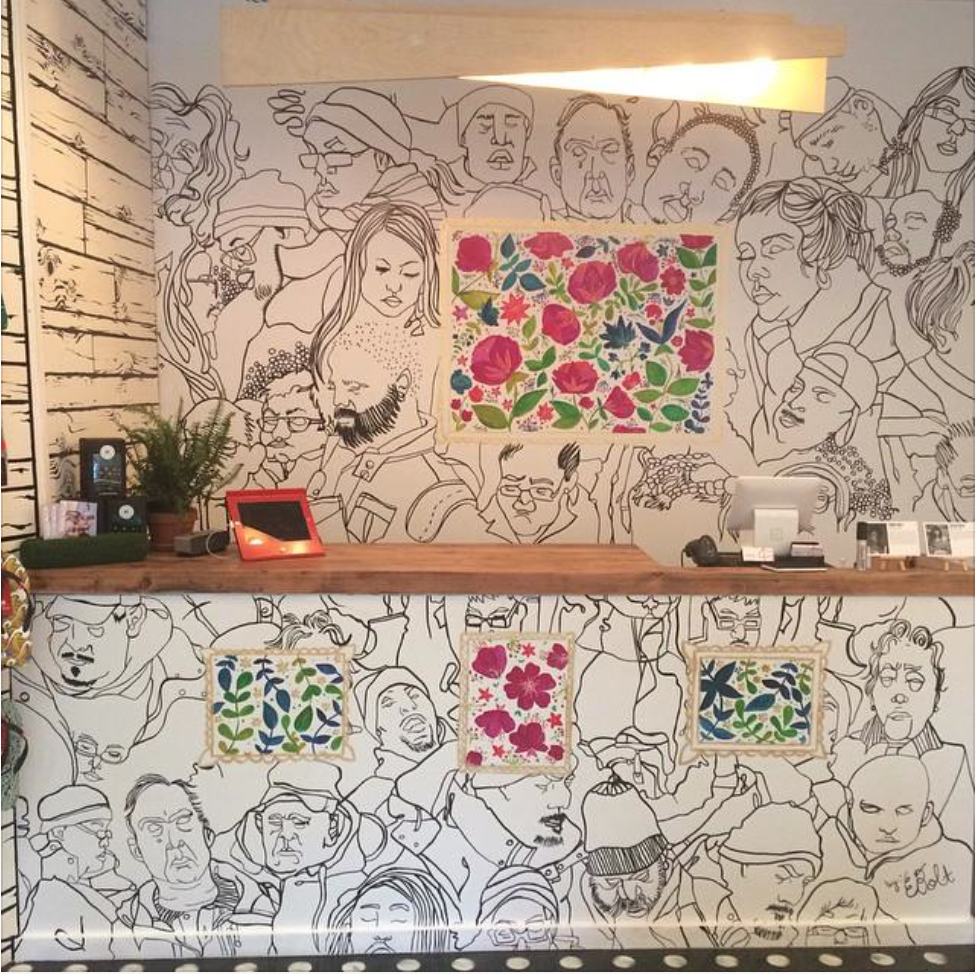 Bucketfeet Elizabeth Street Store Mural (May 2015) I had the pleasure of creating a mural design with fellow artist Meera Lee Patel for the now closed Bucketfeet store in NYC. The design was created to celebrate the release of our individual shoes designs May 2015.