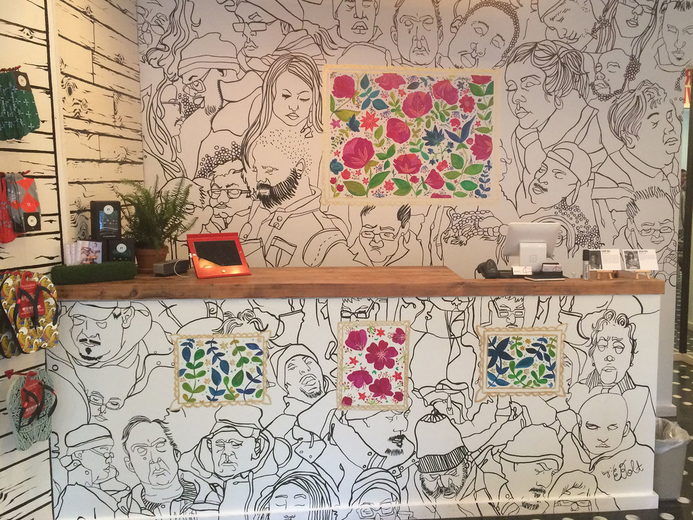 Bucketfeet Elizabeth Street Store Mural (May 2015)   I had the pleasure of creating a mural design with fellow artist Meera Lee Patel for the now closed Bucketfeet store in NYC. The design was created to celebrate the release of our individual shoe designs May 2015.