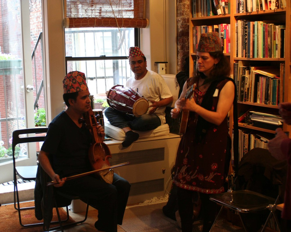 Musicians Shyam Nepali on Sarangi, Raj Kapoor on Drums, and tara linhardt on mandolin