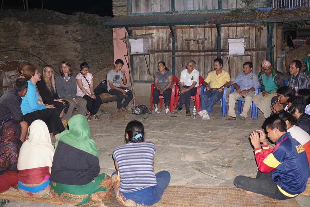 Visitors to rainaskot from the Usa, canada, and Kathmandu share their reasons for making the journey with the villagers.