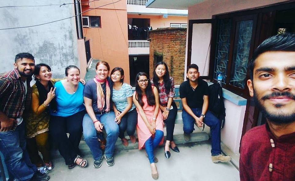 At the office in Kathmandu with the Nepali board members and volunteers.