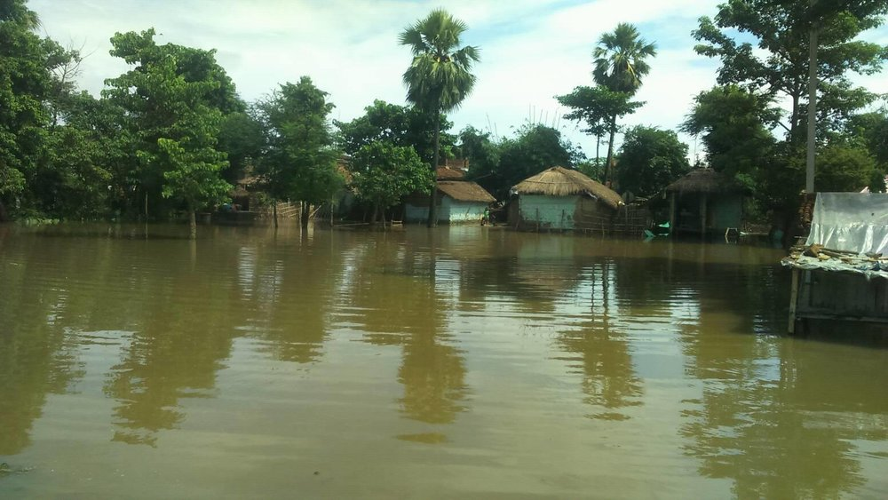 - A flooded village in Rautahat