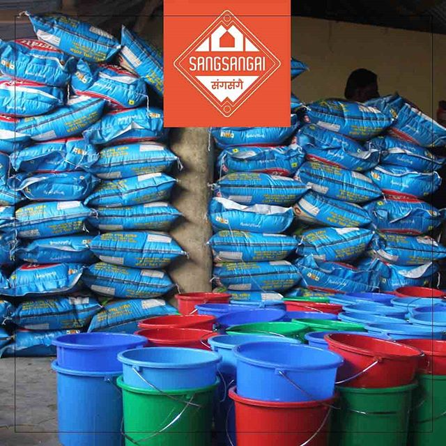 Bags of rice await flood victims in Southern Nepal.  Sangsangai and the America Nepal Medical Foundation joined together to provide 75 families with the basic items needed to survive after the catastrophic floods this month in the Terai.