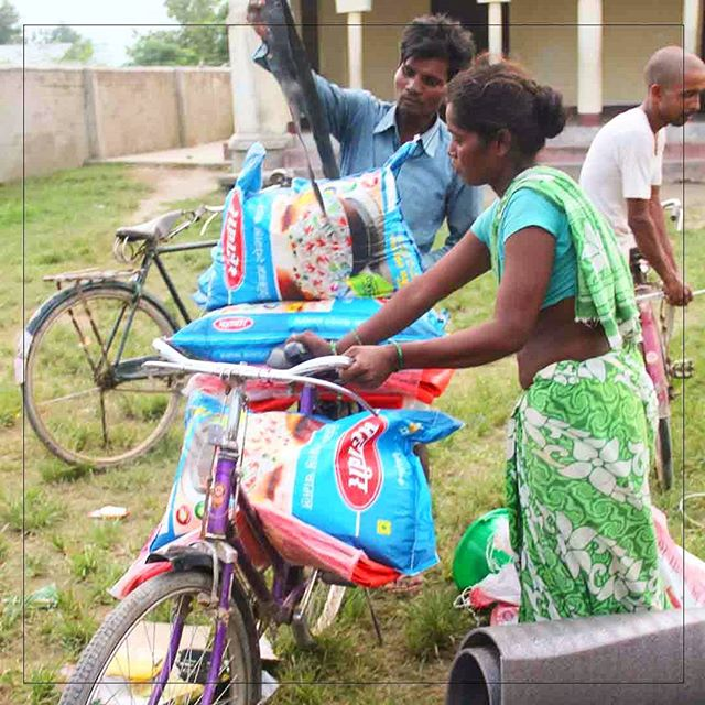 A couple in the Terai uses a bicycle to transport the relief supplies that we recently delivered in partnership with the America Nepal Medical Foundation.  We discovered that as the water has begun to recede, people are able to return to their homes for shelter, but everything has been washed away and their crops have been damaged by the flood waters.  The solution is to focus upcoming deliveries on food, giving each family a months supply of food with as much nutrition as possible.